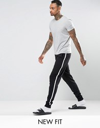 Asos Loungewear Skinny Jogger In Black With White Side Stripe Black