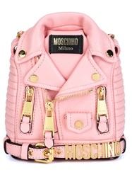 Moschino Mini Biker Jacket Backpack Pink And Purple