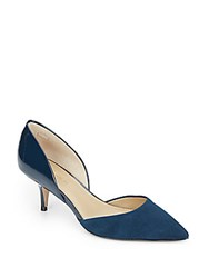 Saks Fifth Avenue Koko Suede And Patent Leather D'orsay Pumps Navy