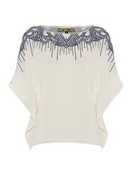 Biba Embroidered Square Oversized Blouse Milk