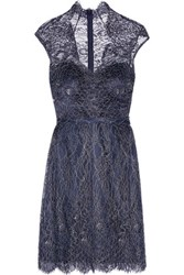 Mikael Aghal Metallic Cotton Blend Corded Lace Dress Midnight Blue