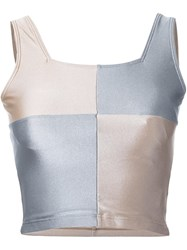 Kotohayokozawa Colour Block Cropped Vest Top Nude And Neutrals