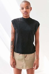 Silence And Noise Dyna Mock Neck Muscle Tee Black