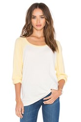 Michael Lauren Elroy Long Sleeve Crop Contrast Tee White