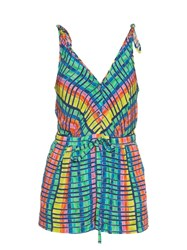 Mara Hoffman Flight Rainbow Print Crepon Playsuit