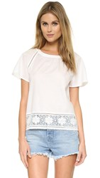 Cupcakes And Cashmere Sydney Lace Trim Blouse Ivory