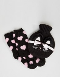Asos Christmas Cat Hot Water Bottle And Cosy Socks Set Black