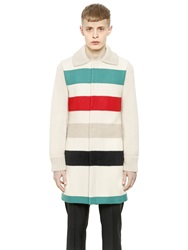 J.W.Anderson Wool Coat With Knitted Sleeves And Collar Beige
