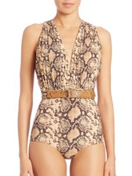 Michael Kors One Piece Wrap Belt Shirred Maillot Butter