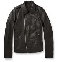 Rick Owens Stooges Grained Leather Jacket Black