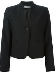 Collarless Single Button Blazer Black