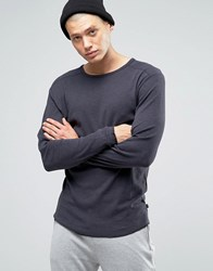 Only And Sons Long Sleeve Top With Raw Edge Hem Navy