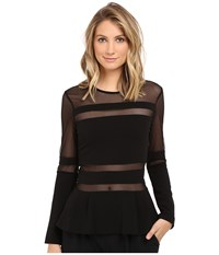 Nicole Miller Lili Structured Jersey Top Black Women's Clothing