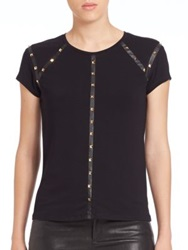 Generation Love Studded Faux Leather Tee Black Gold