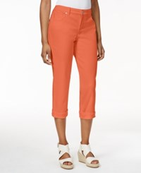 Styleandco. Style And Co. Petite Jeans Tummy Control Cuffed Capri Colored Wash Dusty Rouge