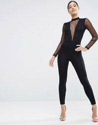 Asos Jersey Jumpsuit With Plunge Neck And Dobby Mesh Black
