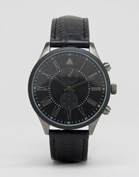 Asos Watch In Mixed Metal Finish With Black Croc Strap Black