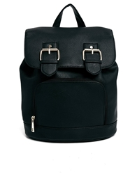 Asos Backpack With Double Buckle Detail Black