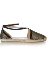 Jimmy Choo Donna Metallic Striped Suede Espadrilles