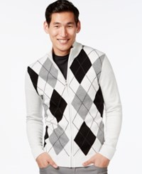 Inc International Concepts Argyle Mock Neck Cardigan Sweater Only At Macy's Light Grey Heather