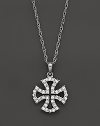 Bloomingdale's Diamond Micro Pave Cross Pendant Necklace In 14K White Gold .20 Ct. T.W 18