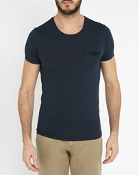 Ikks Navy Contrasting Pocket Tic Tac Micro Pattern Round Neck T Shirt