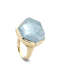 Ippolita 18K Large Blue Topaz Mother Of Pearl Doublet Ring Size 7