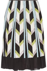 Emilio Pucci Embellished Felt Appliqued Silk Chiffon Skirt White