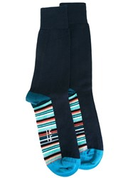 Paul Smith Striped Detail Socks Blue