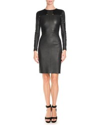 Givenchy Studded Leather Long Sleeve Dress Black