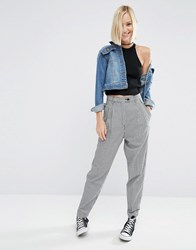 Asos High Waisted Peg Trousers In Gingham Check Multi