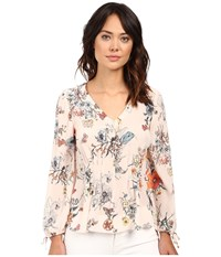 Rebecca Taylor Meadow Floral Print Long Sleeve Blouse Pink Combo Women's Blouse