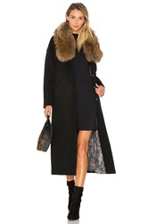 Soia And Kyo Chanelle Coat With Asiatic Raccoon Fur Trim Black