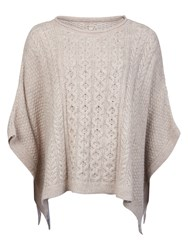 Barbour Clover Cable Knit Poncho Ecru