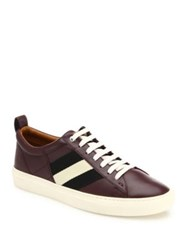Bally Lace Up Leather Sneakers Merlot