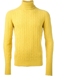 Drumohr Cable Knit Roll Neck Sweater Yellow And Orange