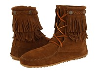 Minnetonka Double Fringe Front Lace Boot Dusty Brown Suede Women's Lace Up Boots
