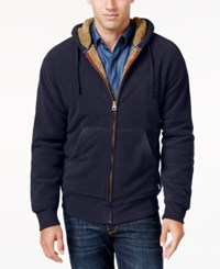 Weatherproof Vintage Men's Big And Tall Faux Sherpa Lined Hoodie Only At Macy's Navy