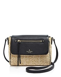 Kate Spade New York Cobble Hill Straw Mini Toddy Crossbody Natural Black