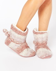 Totes Knitted Bootie Slippers Pink