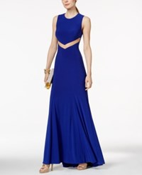 Betsy And Adam Mesh Cutout Back Sleeveless Gown Royal