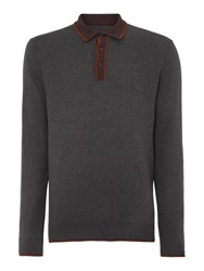 Peter Werth Johnny Boy Plain Crew Neck Button Jumpers Charcoal