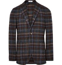 Boglioli K Jacket Slim Fit Checked Alpaca Blend Blazer Navy