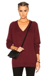 Alexander Wang T By Cashwool Deep V Neck Sweater In Red