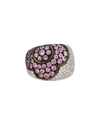 Pasquale Bruni 18K Diamond And Pink Tourmaline Flower Ring Size 5.75