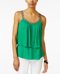 Amy Byer Bcx Juniors' Sleeveless Popover Blouse Green