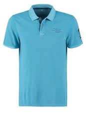 Tom Tailor Fitted Polo Shirt Coastal Blue Turquoise