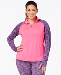 Ideology Plus Size Quarter Zip Printed Sport Jacket Only At Macy's Molten Pink