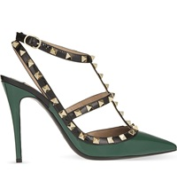 Valentino Rockstud 100 Patent Leather Heeled Courts Mid Green