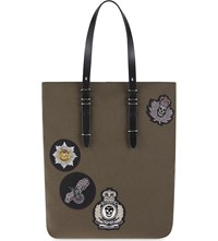 Alexander Mcqueen Military Canvas Tote Milit. Multic. Black